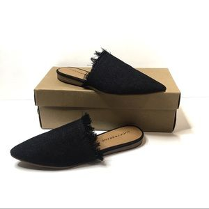 Lucky Brand Black Fabric Fringed Mules